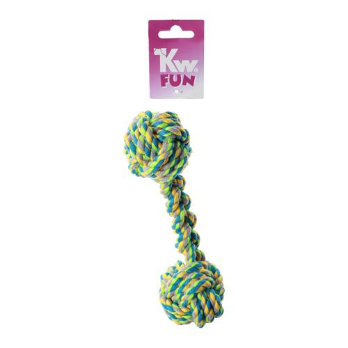 KW multifarvet bomuldsreb dumbell 21 cm. legereb til hunde formet som kødben