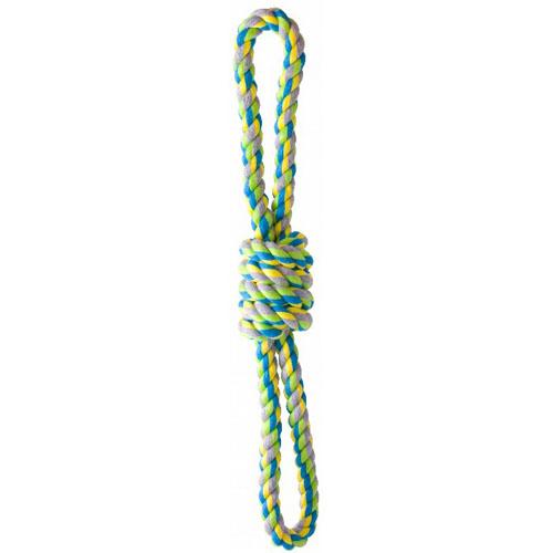 KW multifarvet bomuldsreb 8-tal. 32 cm. Grønt reb med dobbeltløkke. reblegetøj til hunde