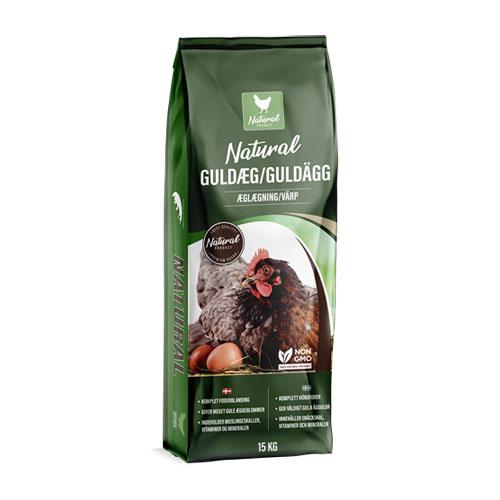 NATURAL Guldæg, hønsefoder / myslifoder til æglæggende høns. Sæk med 15 kg