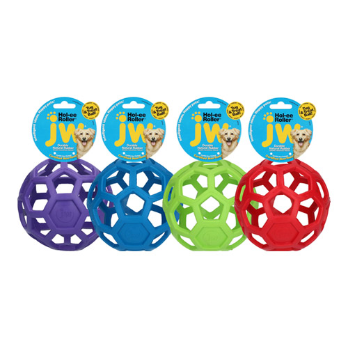 JW Hol-ee Roller netbold af naturgummi. Legetøj til hunde og hvalpe. 4 asorterede farver