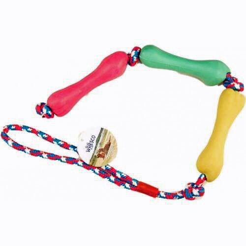 Whesco legereb med gummiben i 3 forskellige farver. reblegetøj til hunde og hvalpe