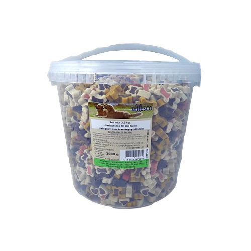 Whesco Lucky Snacks 9er Mix. Lækre bløde Lucky snack træningsgodbidder i spand med 3,5 kg. Blanding af små kødben og hjerter.