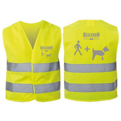 Belcando sikkerhedsvest med reflekser som viser hund i snor. Ideel til gåture i mørket